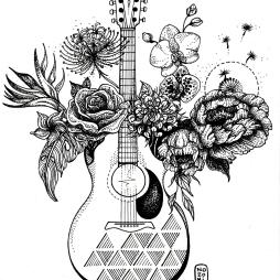 Illustration guitare et fleurs