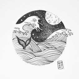 Illustration vague d'hokusaï et baleine