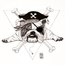 Illustration bulldog - technique hachures et pointillés
