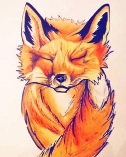 Illustration de renard - technique crayons de couleur forts pigments et encre