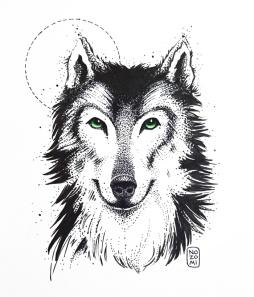 Illustration chien loup