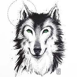 Illustration chien loup